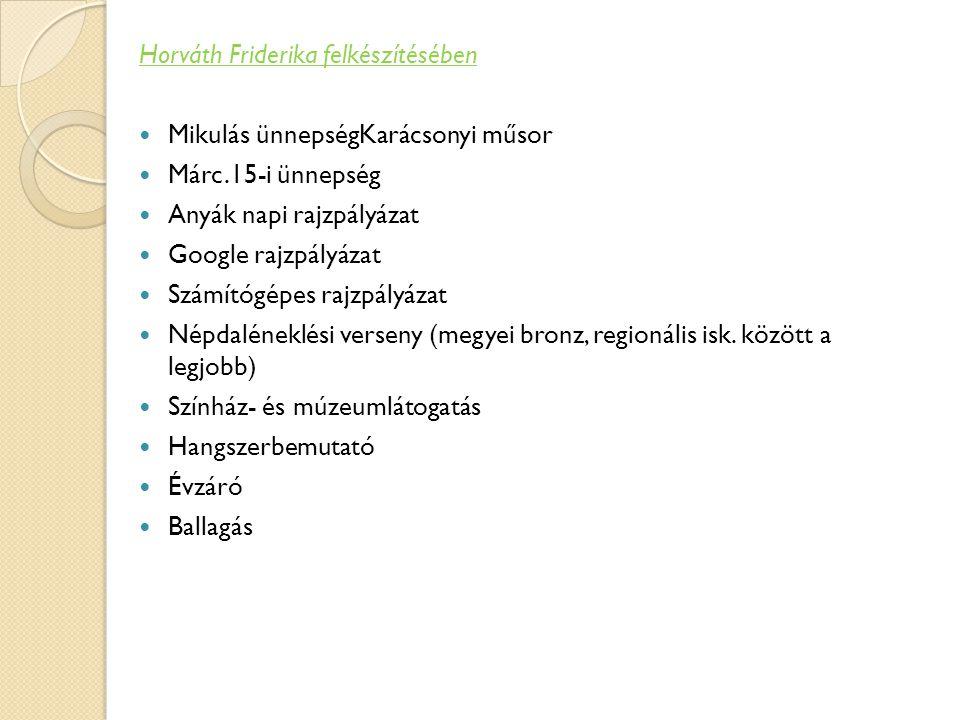 Horváth Friderika felkészítésében