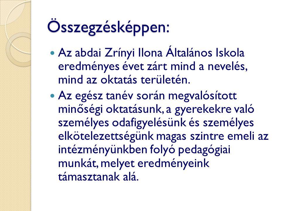 Összegzésképpen: Az abdai Zrínyi Ilona Általános Iskola eredményes évet zárt mind a nevelés, mind az oktatás területén.