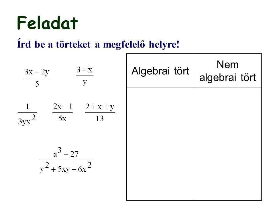 Feladat Nem algebrai tört Algebrai tört