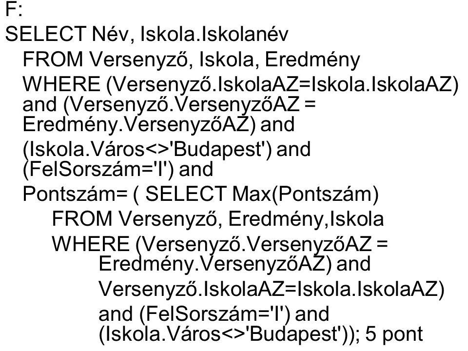 F: SELECT Név, Iskola.Iskolanév. FROM Versenyző, Iskola, Eredmény.