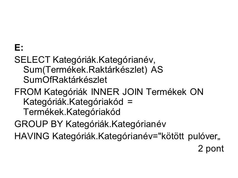 E: SELECT Kategóriák.Kategórianév, Sum(Termékek.Raktárkészlet) AS SumOfRaktárkészlet.