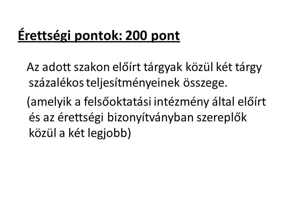 Érettségi pontok: 200 pont