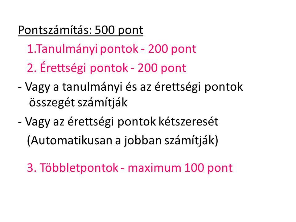 Pontszámítás: 500 pont 1.Tanulmányi pontok - 200 pont. 2. Érettségi pontok - 200 pont.