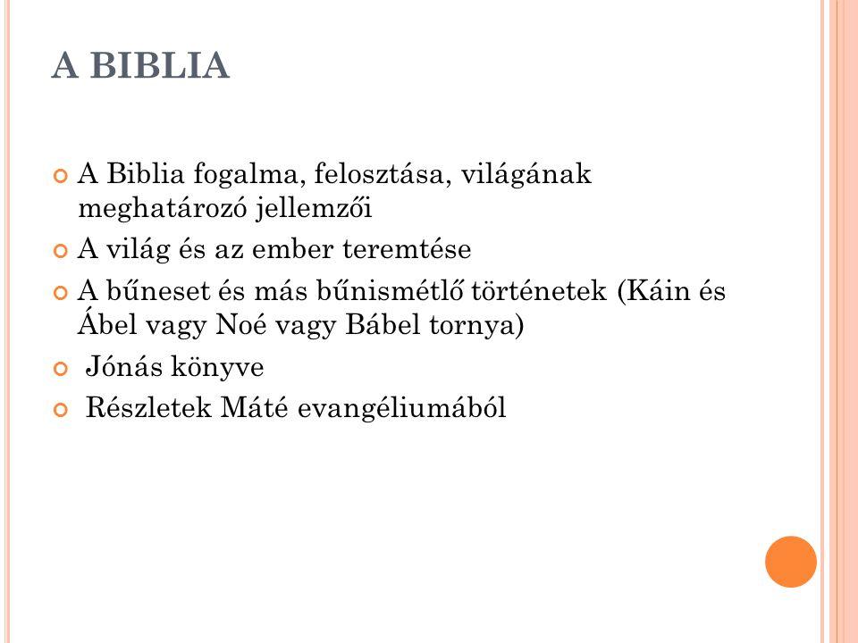 A BIBLIA A Biblia fogalma, felosztása, világának meghatározó jellemzői