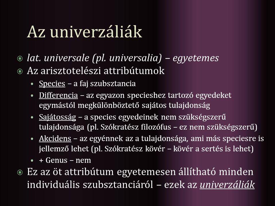 Az univerzáliák lat. universale (pl. universalia) – egyetemes