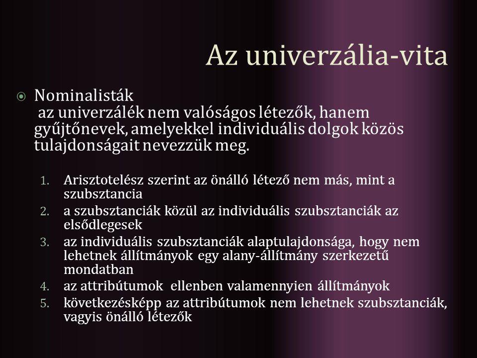 Az univerzália-vita Nominalisták
