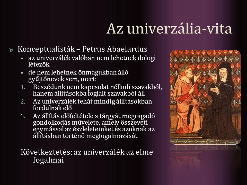 Az univerzália-vita Konceptualisták – Petrus Abaelardus