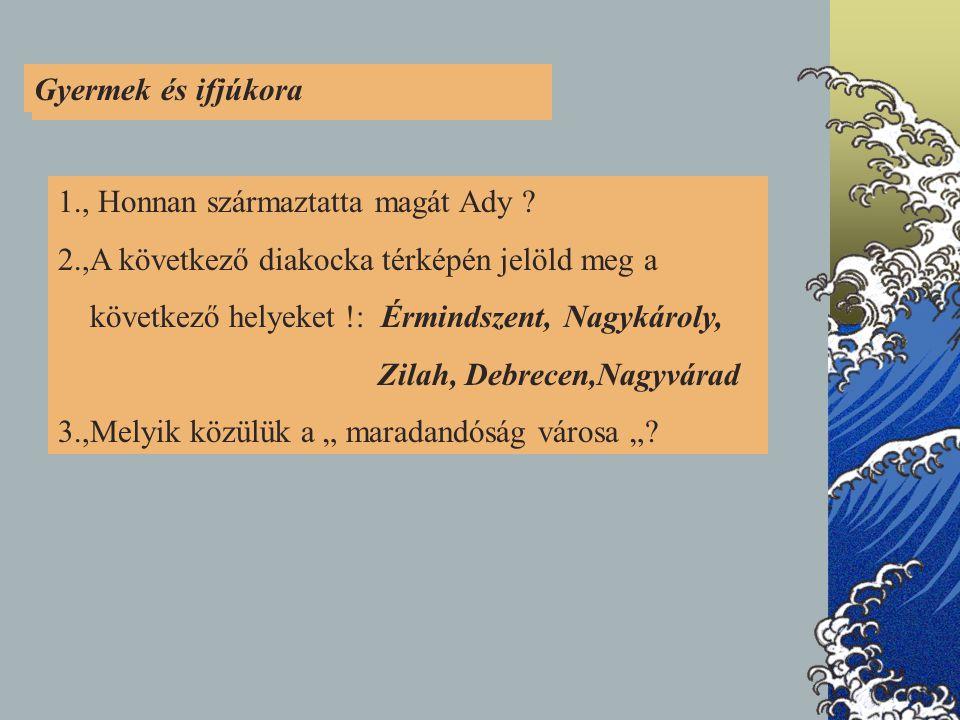 Gyermek és ifjúkora 1. GYERMEK- ÉS IFJÚKORA. 1., Honnan származtatta magát Ady 2.,A következő diakocka térképén jelöld meg a.