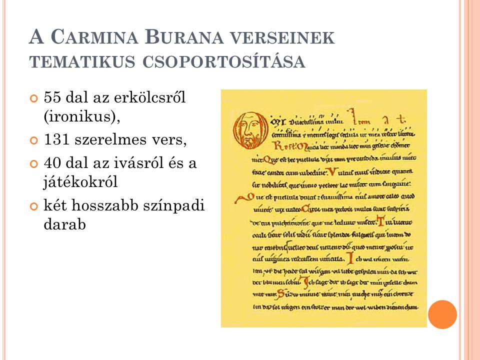 A Carmina Burana verseinek tematikus csoportosítása
