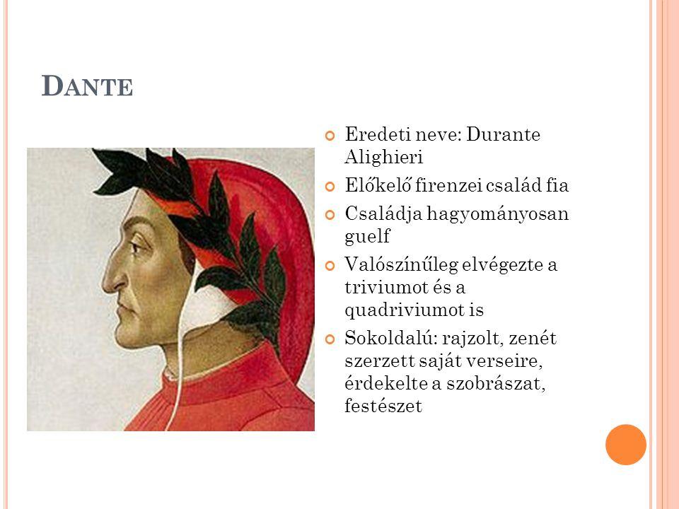 Dante Eredeti neve: Durante Alighieri Előkelő firenzei család fia