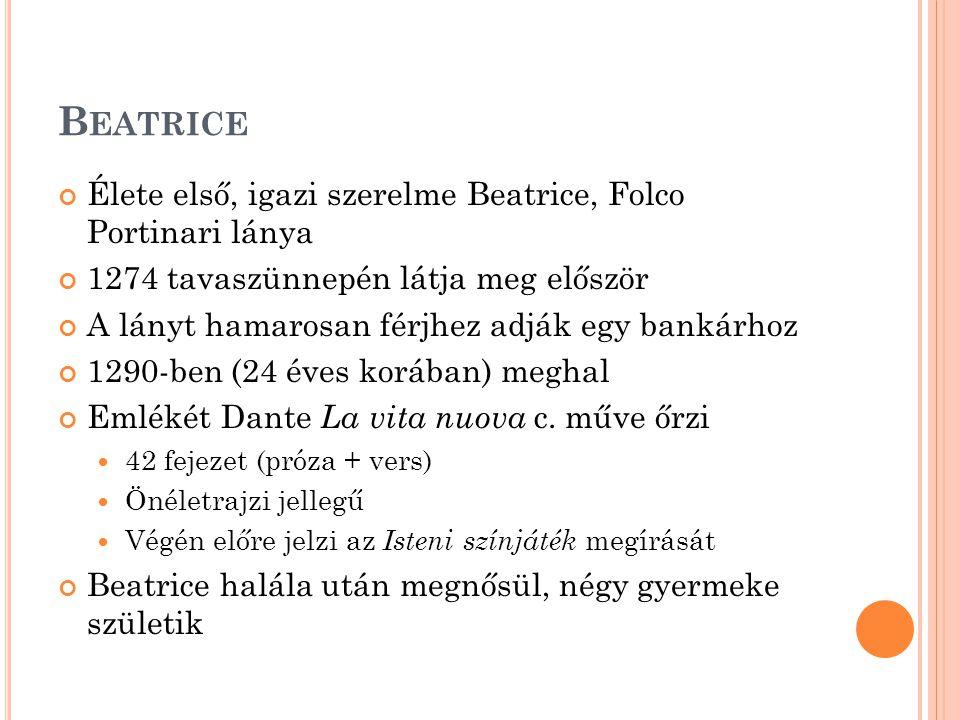 Beatrice Élete első, igazi szerelme Beatrice, Folco Portinari lánya