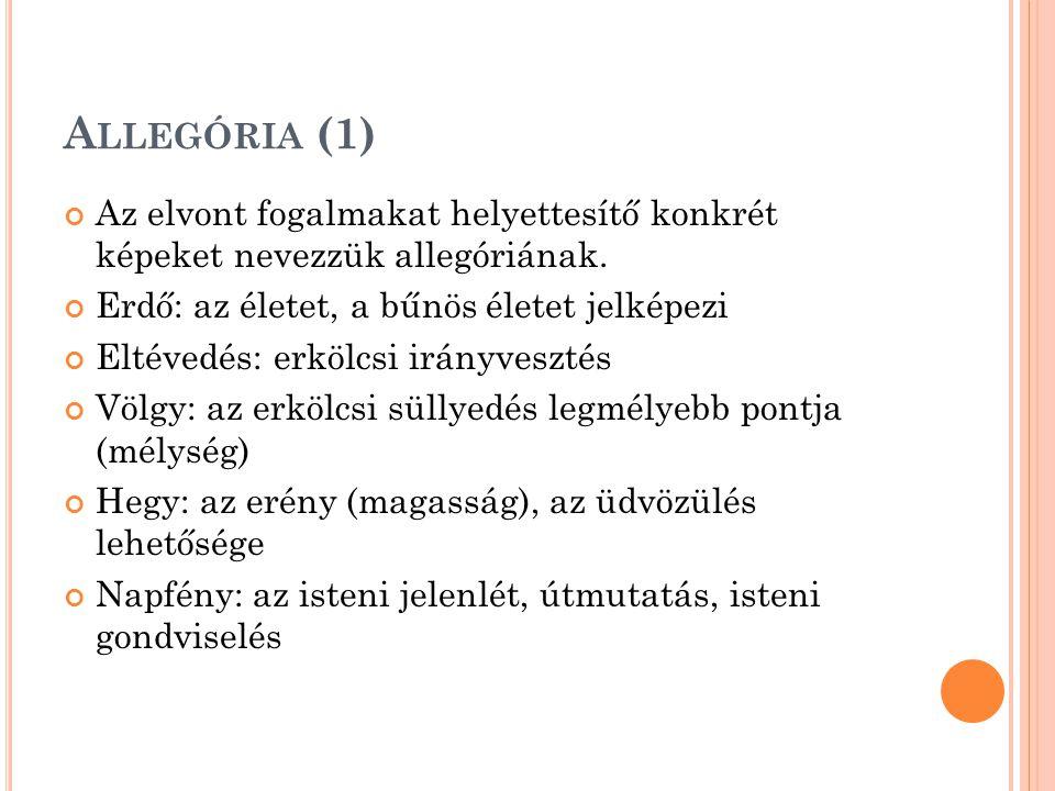 Allegória (1) Az elvont fogalmakat helyettesítő konkrét képeket nevezzük allegóriának. Erdő: az életet, a bűnös életet jelképezi.