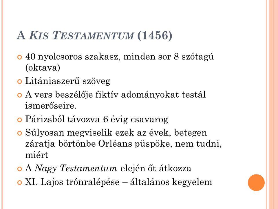A Kis Testamentum (1456) 40 nyolcsoros szakasz, minden sor 8 szótagú (oktava) Litániaszerű szöveg.