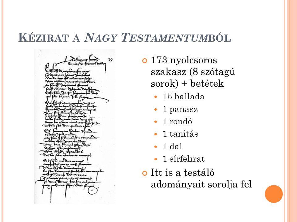 Kézirat a Nagy Testamentumból
