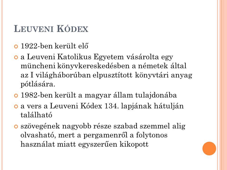 Leuveni Kódex 1922-ben került elő