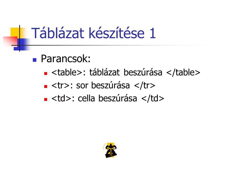 Táblázat készítése 1 Parancsok: