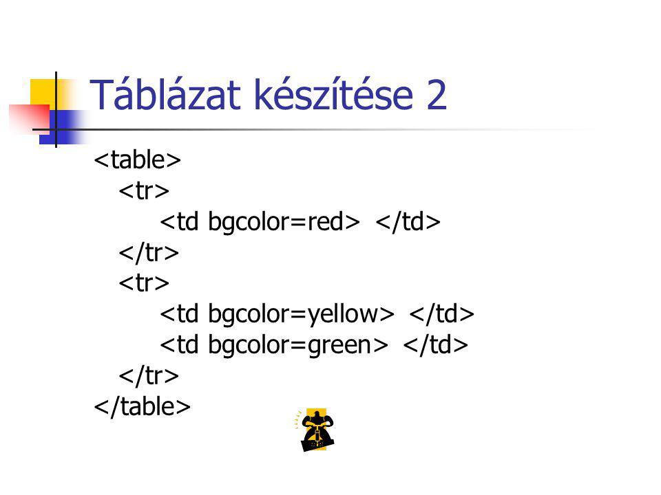 Táblázat készítése 2 <table> <tr>