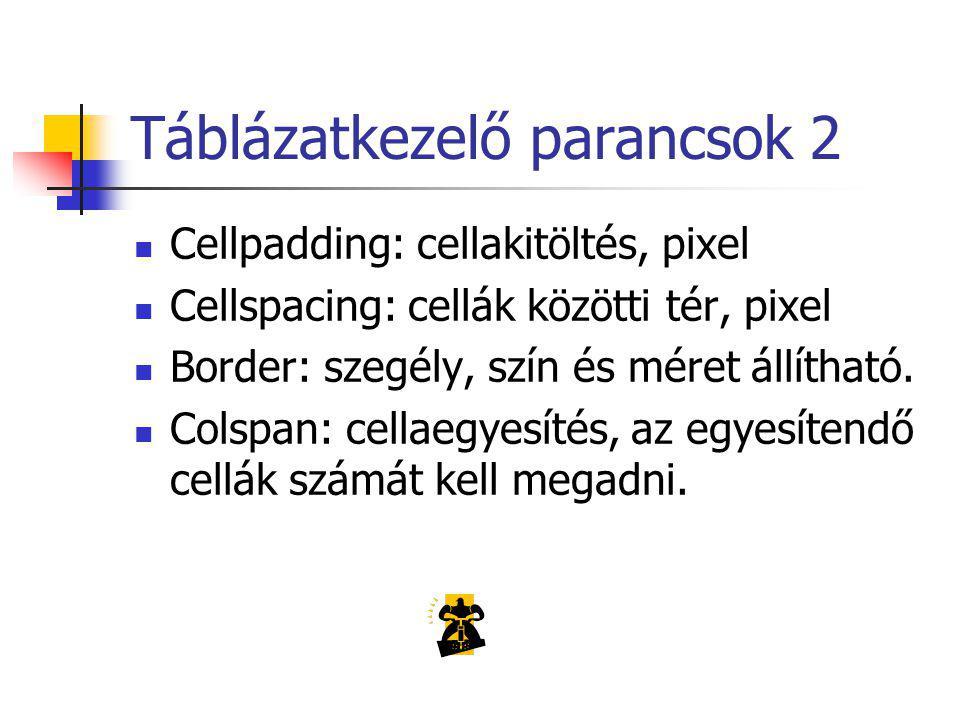 Táblázatkezelő parancsok 2