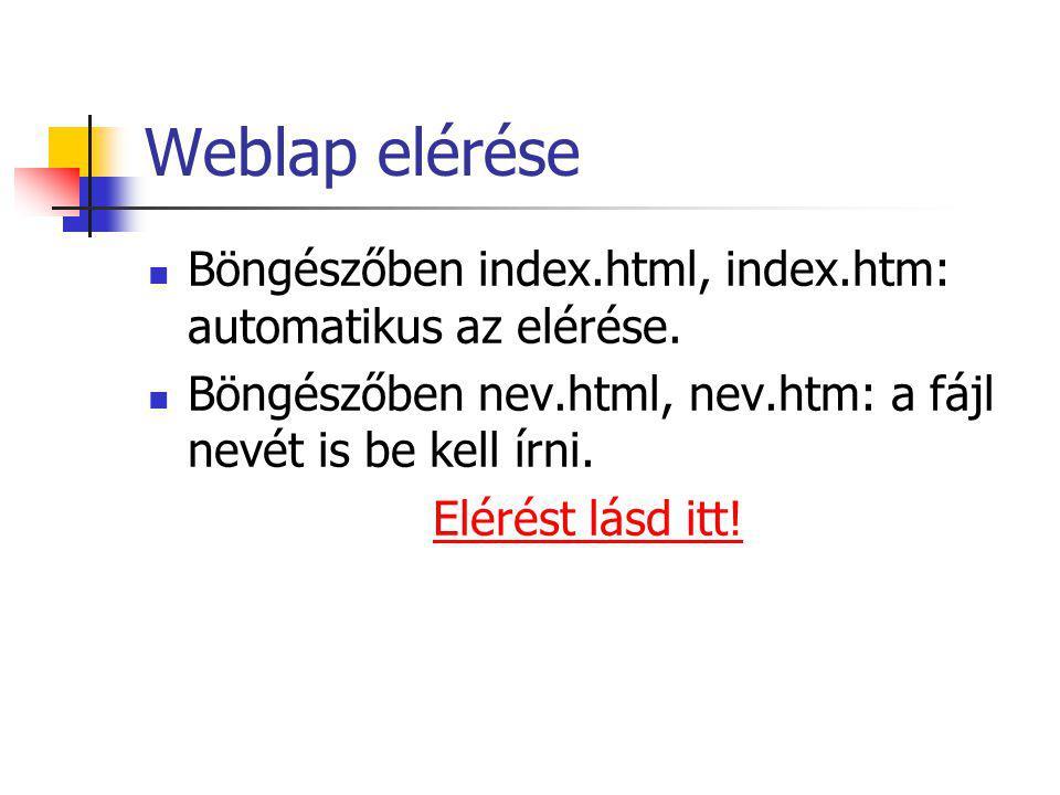 Weblap elérése Böngészőben index.html, index.htm: automatikus az elérése. Böngészőben nev.html, nev.htm: a fájl nevét is be kell írni.