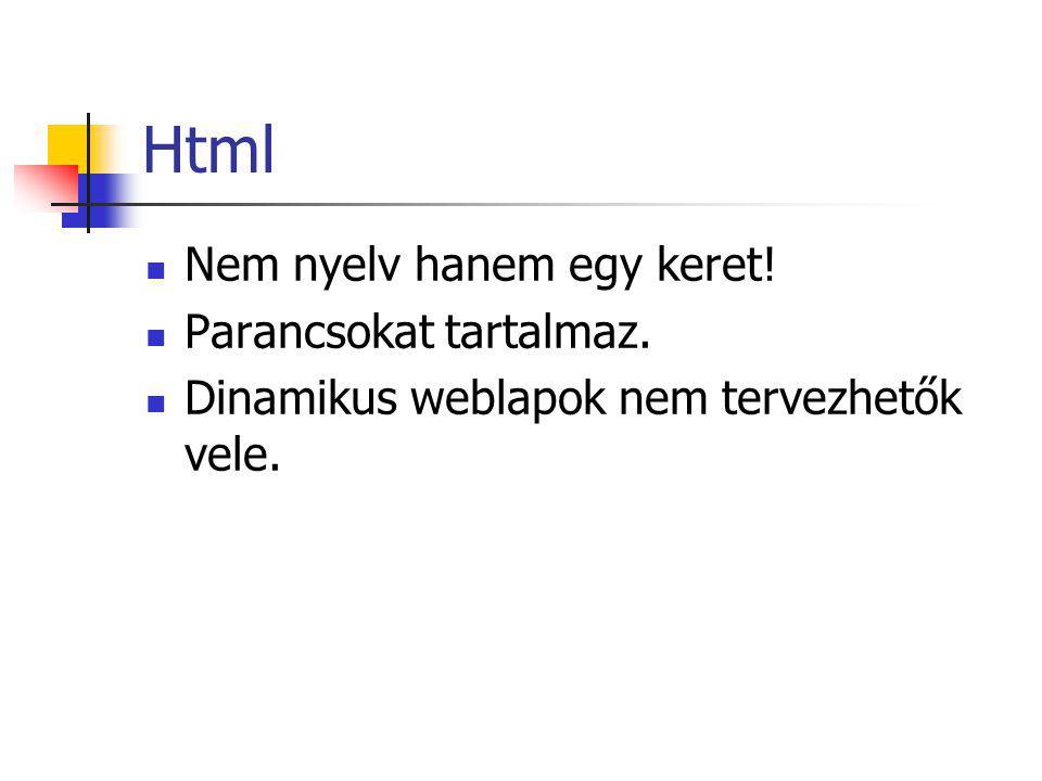 Html Nem nyelv hanem egy keret! Parancsokat tartalmaz.