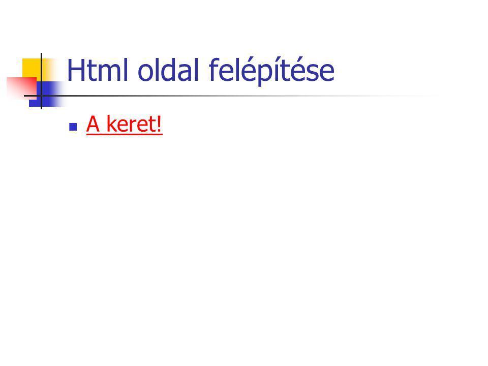 Html oldal felépítése A keret!