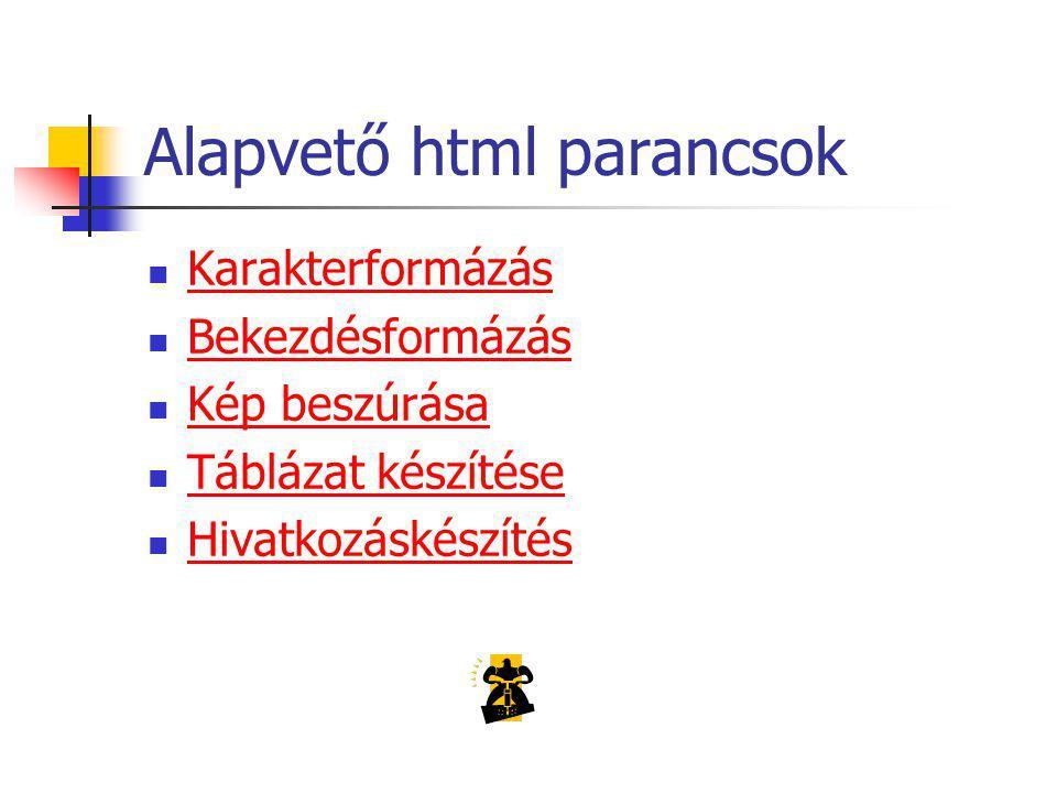 Alapvető html parancsok