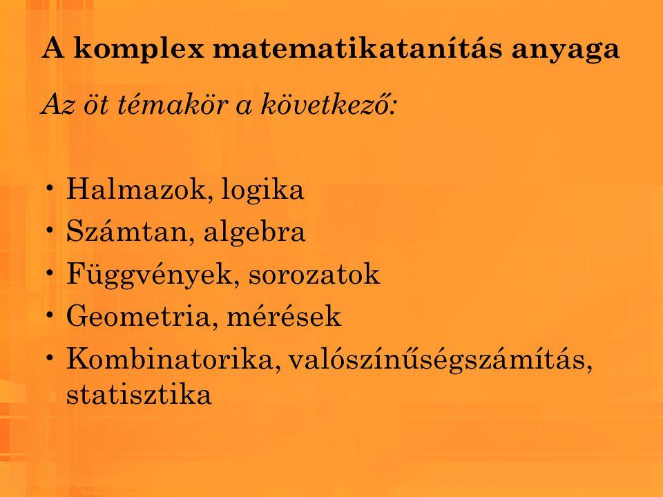 A komplex matematikatanítás anyaga