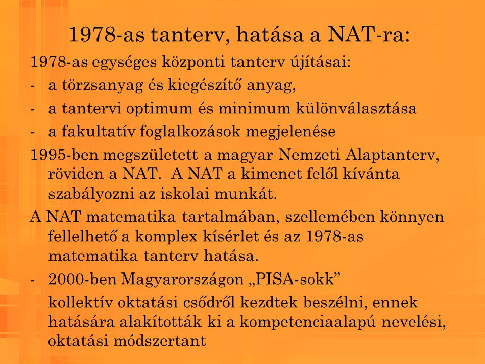 1978-as tanterv, hatása a NAT-ra:
