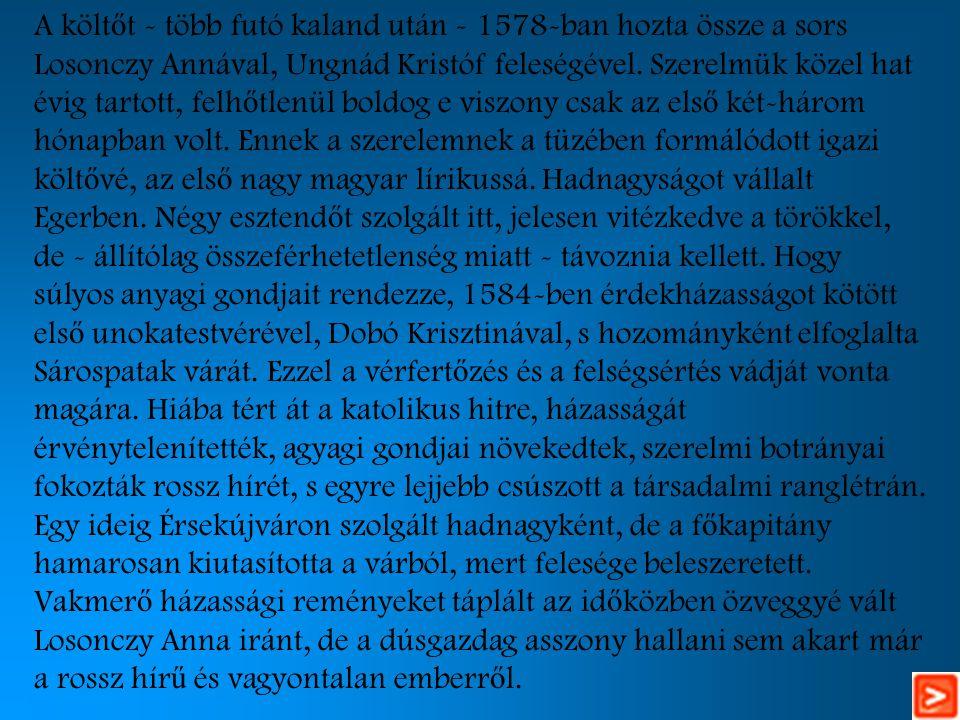 A költőt - több futó kaland után - 1578-ban hozta össze a sors Losonczy Annával, Ungnád Kristóf feleségével.
