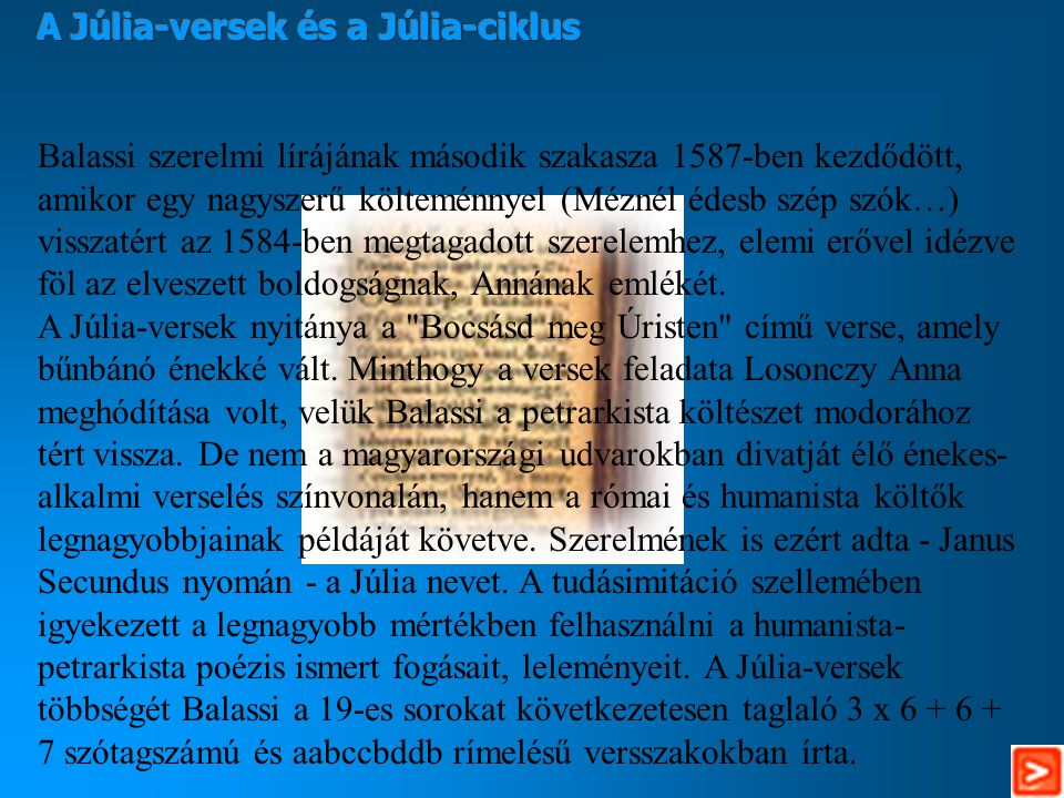 A Júlia-versek és a Júlia-ciklus