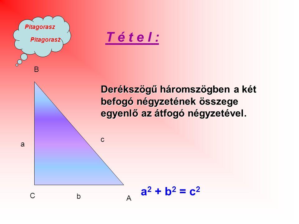 T é t e l : B. Derékszögű háromszögben a két befogó négyzetének összege egyenlő az átfogó négyzetével.