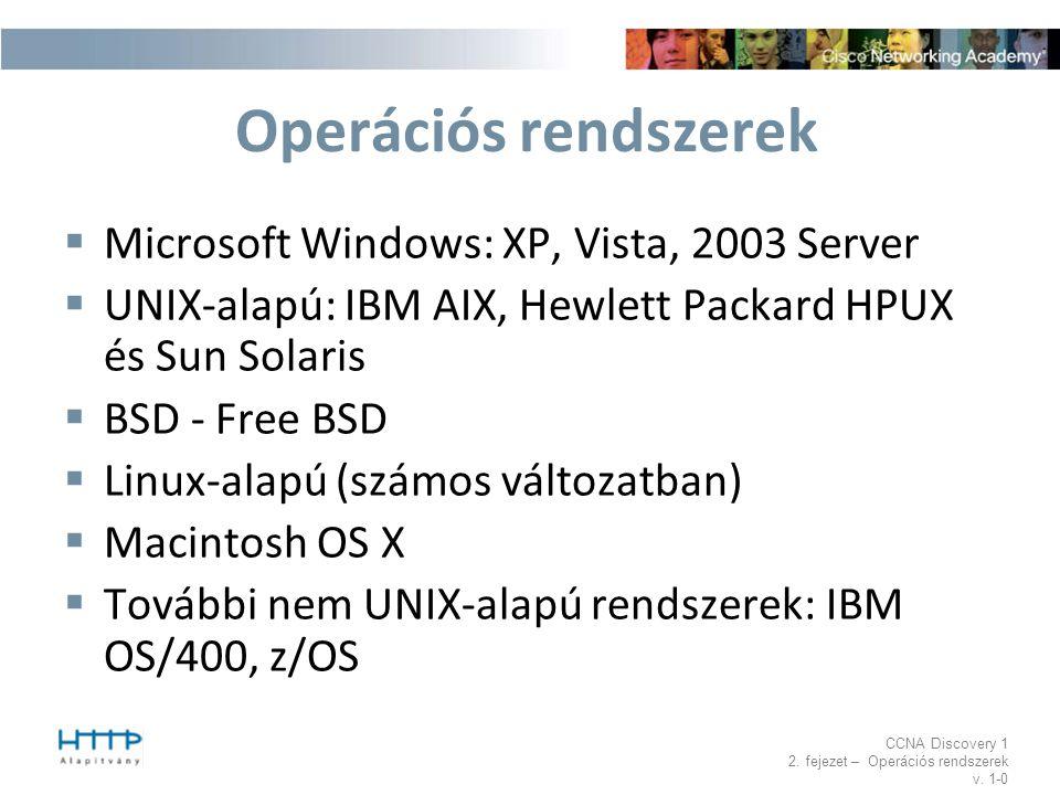 Operációs rendszerek Microsoft Windows: XP, Vista, 2003 Server