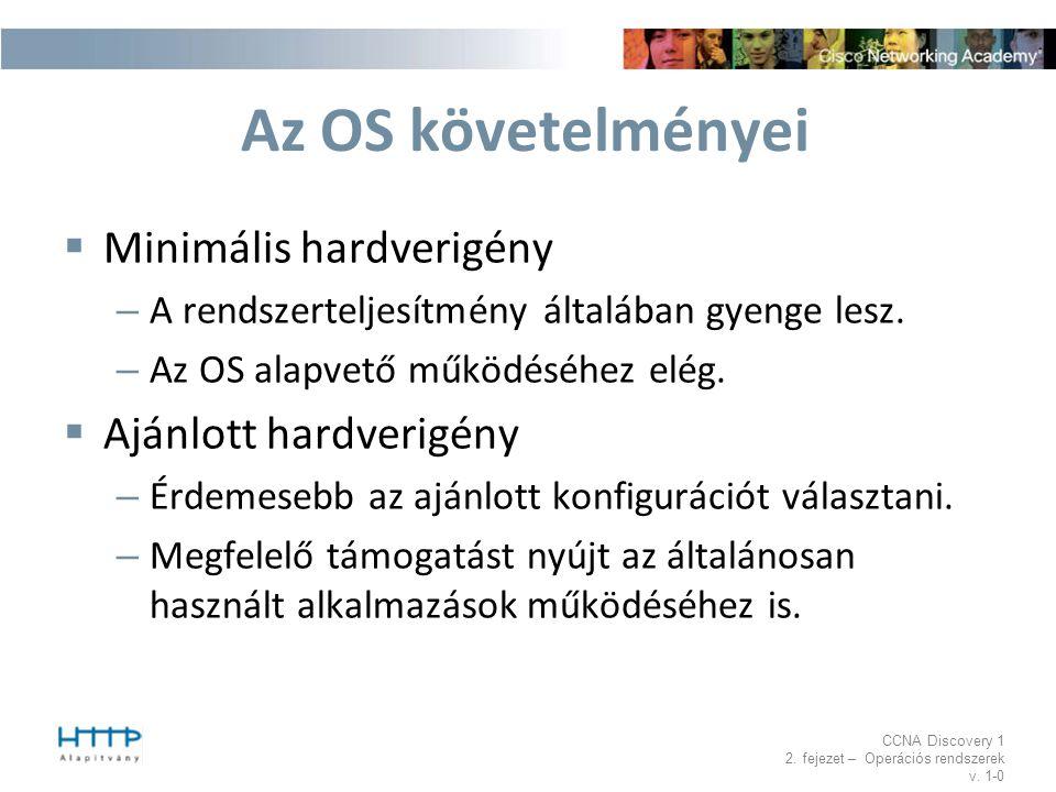 Az OS követelményei Minimális hardverigény Ajánlott hardverigény