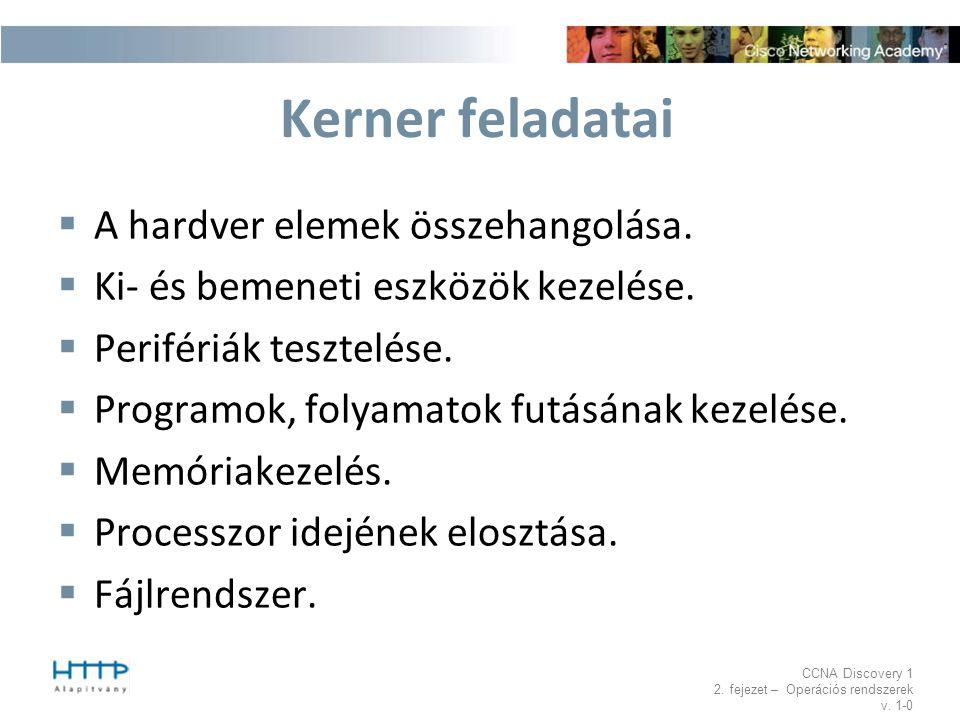 Kerner feladatai A hardver elemek összehangolása.