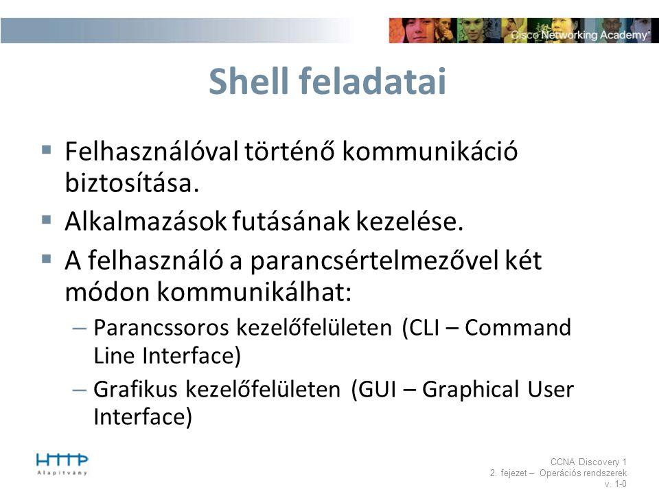 Shell feladatai Felhasználóval történő kommunikáció biztosítása.