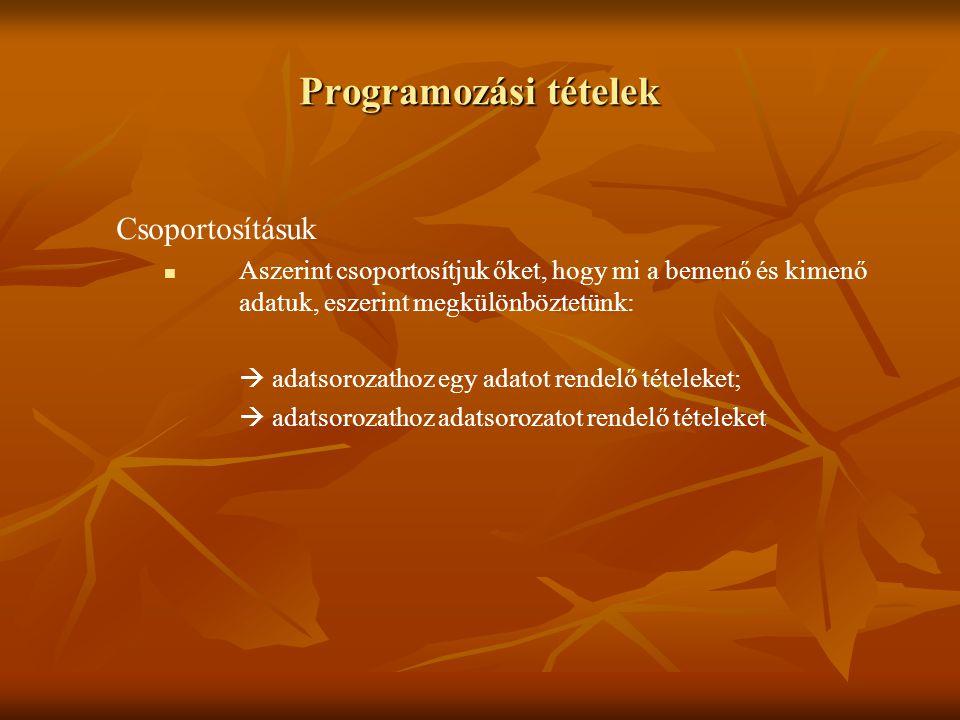 Programozási tételek Csoportosításuk