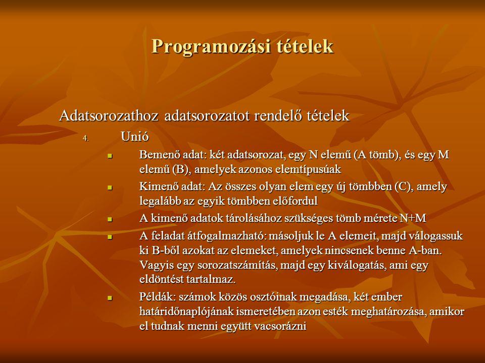 Programozási tételek Adatsorozathoz adatsorozatot rendelő tételek Unió