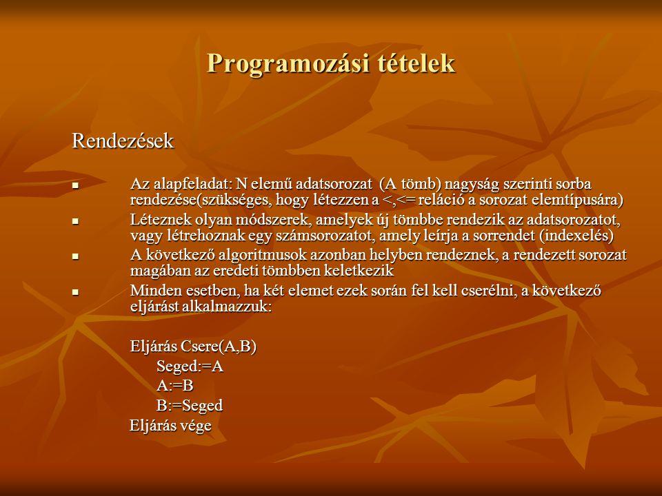 Programozási tételek Rendezések