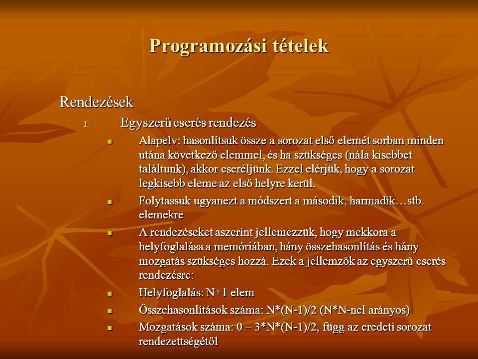 Programozási tételek Rendezések Egyszerű cserés rendezés