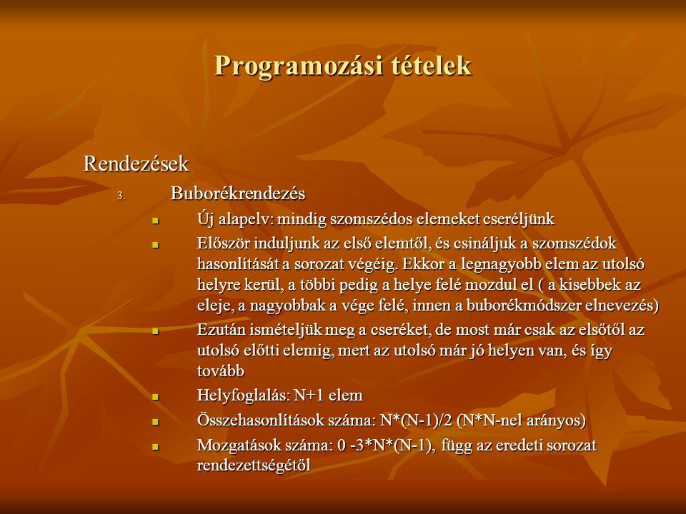 Programozási tételek Rendezések Buborékrendezés