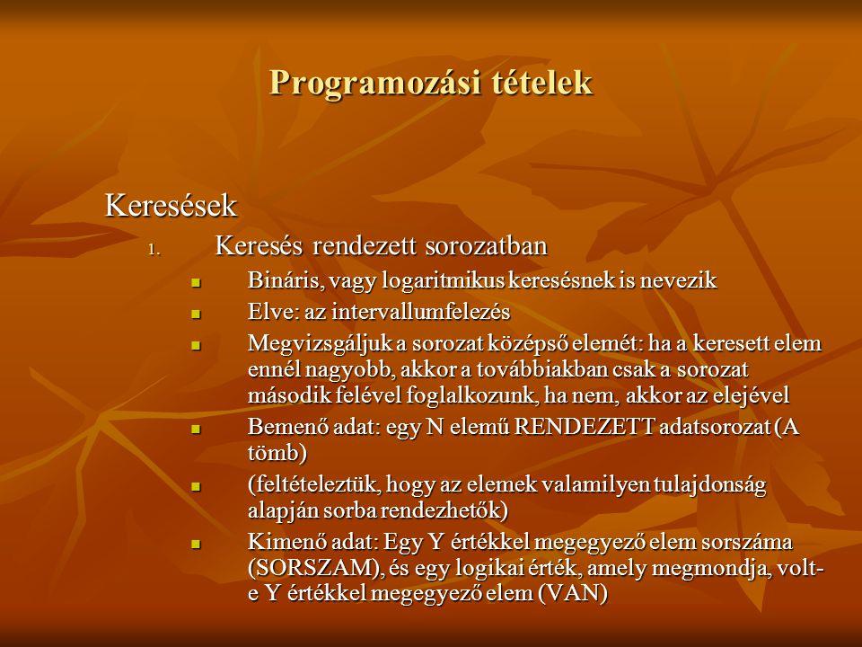 Programozási tételek Keresések Keresés rendezett sorozatban