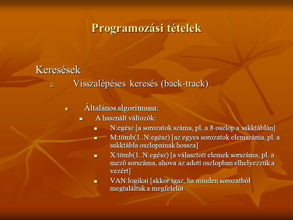 Programozási tételek Keresések Visszalépéses keresés (back-track)