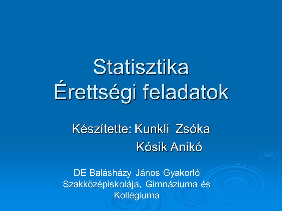 Statisztika Érettségi feladatok