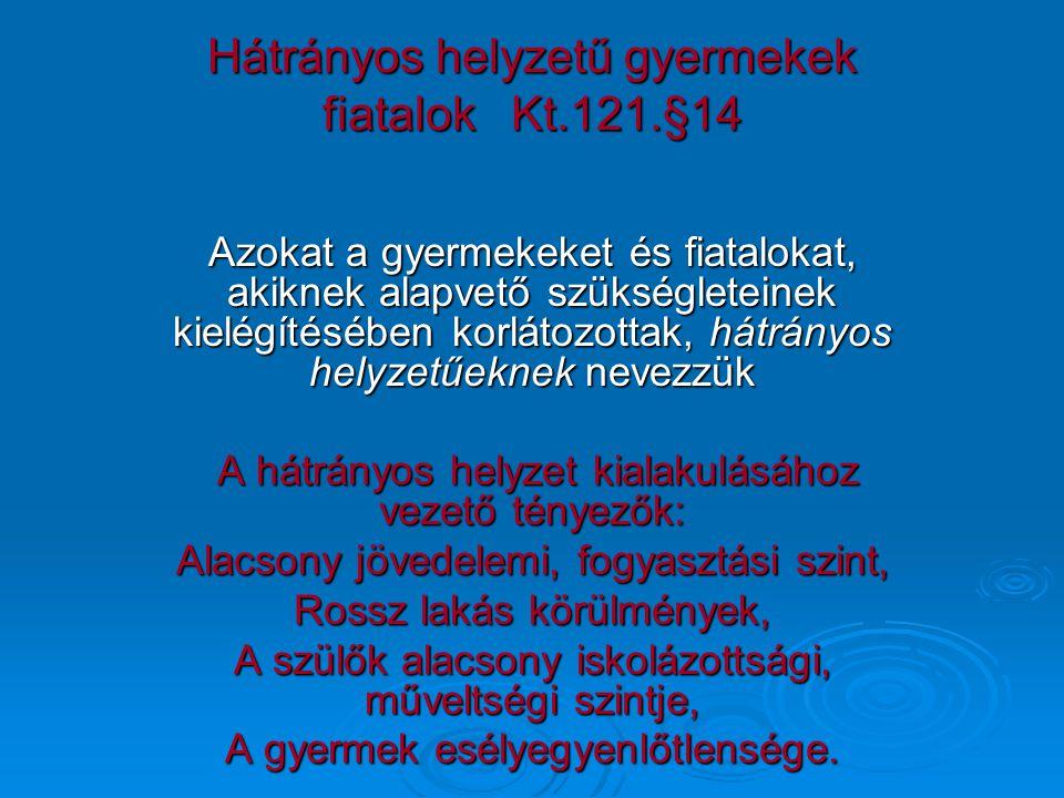 Hátrányos helyzetű gyermekek fiatalok Kt.121.§14