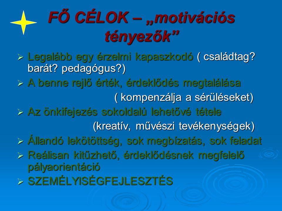 """FŐ CÉLOK – """"motivációs tényezők"""