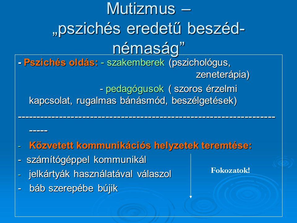 """Mutizmus – """"pszichés eredetű beszéd-némaság"""