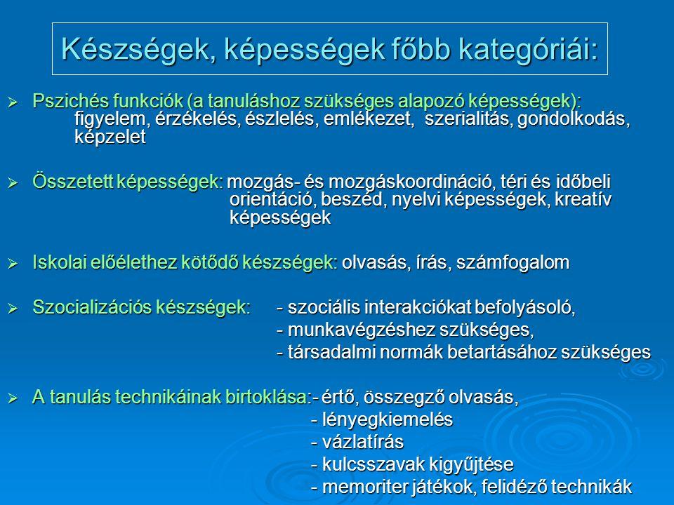 Készségek, képességek főbb kategóriái: