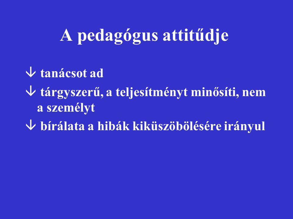 A pedagógus attitűdje tanácsot ad