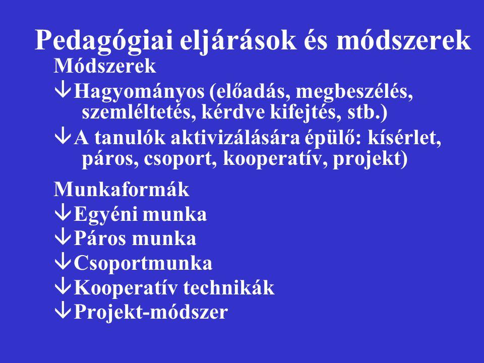Pedagógiai eljárások és módszerek