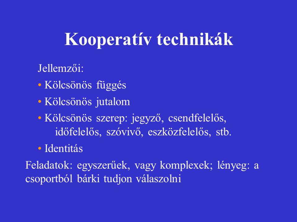 Kooperatív technikák Jellemzői: Kölcsönös függés Kölcsönös jutalom